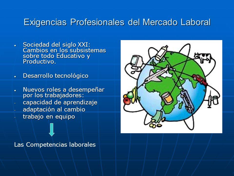 Exigencias Profesionales del Mercado Laboral Sociedad del siglo XXI: Cambios en los subsistemas sobre todo Educativo y Productivo. Sociedad del siglo
