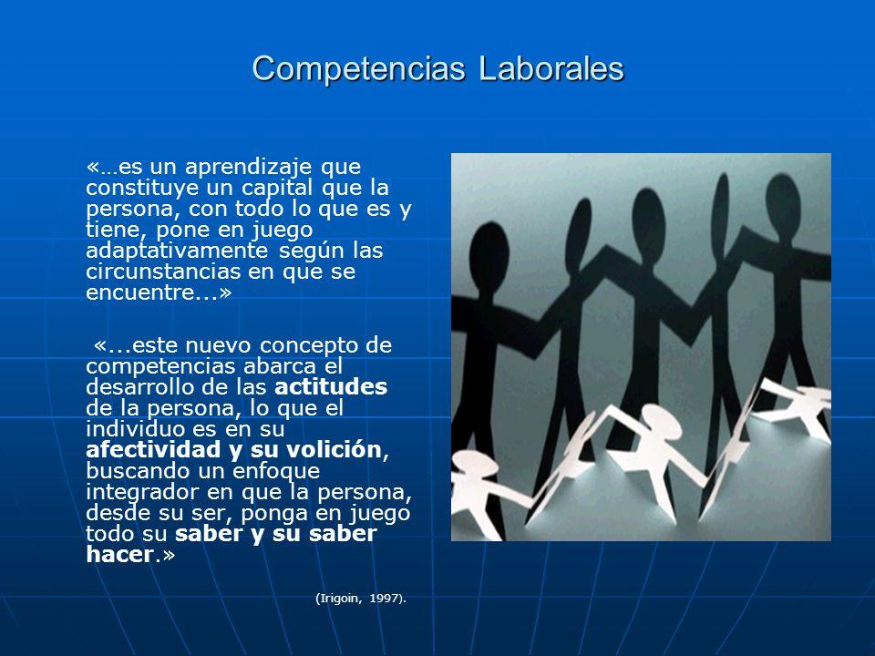Competencias Laborales «…es un aprendizaje que constituye un capital que la persona, con todo lo que es y tiene, pone en juego adaptativamente según l