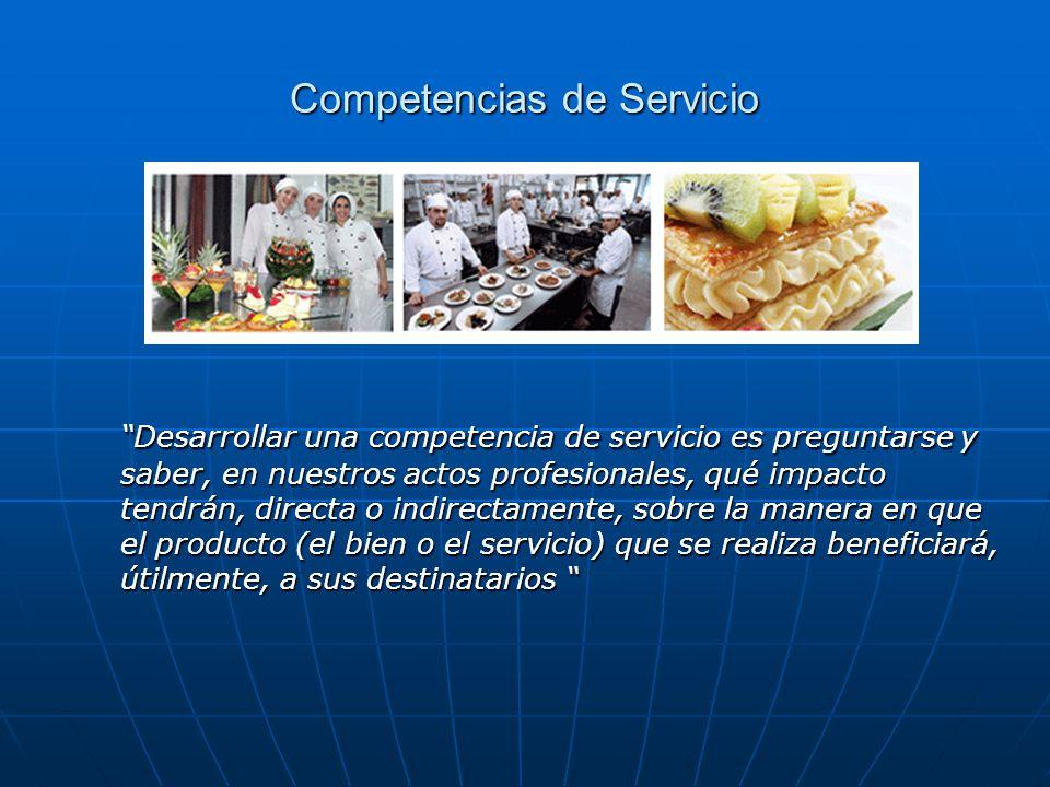 Competencias de Servicio Desarrollar una competencia de servicio es preguntarse y saber, en nuestros actos profesionales, qué impacto tendrán, directa
