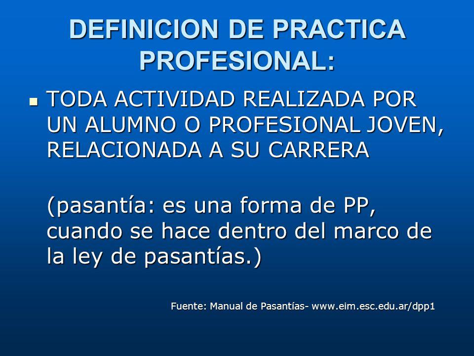 DEFINICION DE PRACTICA PROFESIONAL: TODA ACTIVIDAD REALIZADA POR UN ALUMNO O PROFESIONAL JOVEN, RELACIONADA A SU CARRERA TODA ACTIVIDAD REALIZADA POR