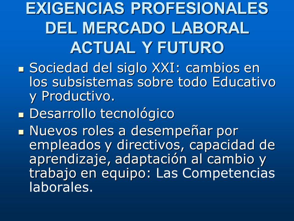 EXIGENCIAS PROFESIONALES DEL MERCADO LABORAL ACTUAL Y FUTURO Sociedad del siglo XXI: cambios en los subsistemas sobre todo Educativo y Productivo. Soc