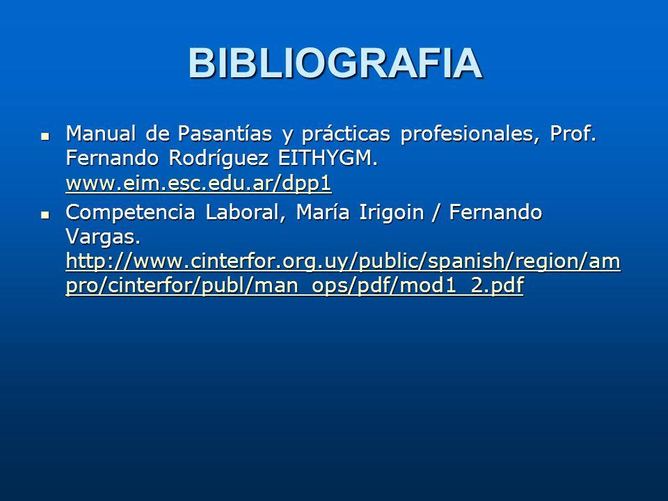 BIBLIOGRAFIA Manual de Pasantías y prácticas profesionales, Prof. Fernando Rodríguez EITHYGM. www.eim.esc.edu.ar/dpp1 Manual de Pasantías y prácticas