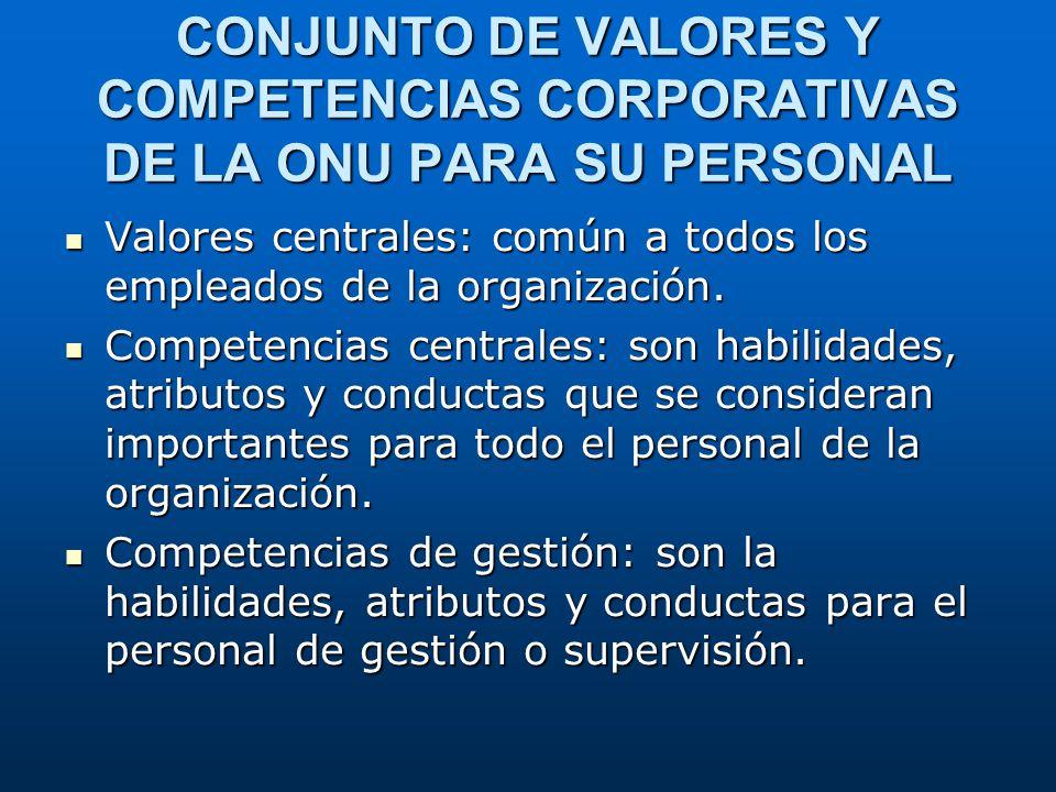CONJUNTO DE VALORES Y COMPETENCIAS CORPORATIVAS DE LA ONU PARA SU PERSONAL Valores centrales: común a todos los empleados de la organización. Competen