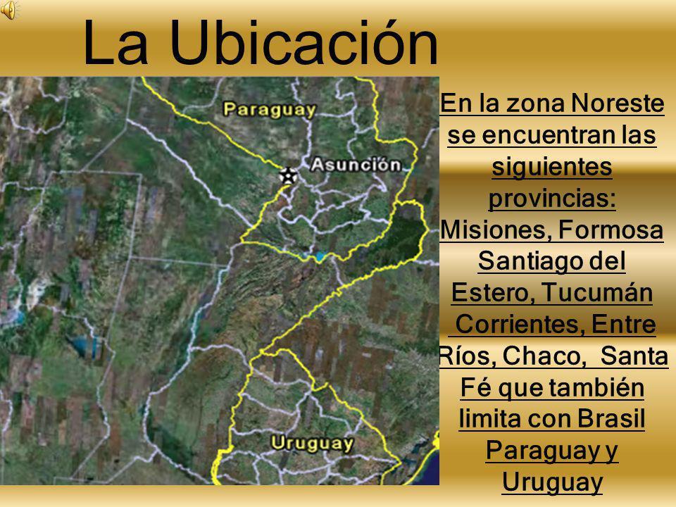 En la zona Noreste se encuentran las siguientes provincias: Misiones, Formosa Santiago del Estero, Tucumán Corrientes, Entre Ríos, Chaco, Santa Fé que