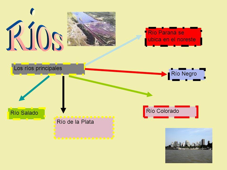 Los ríos principales Río de la Plata Río Salado Río Colorado Río Negro Río Paraná se ubica en el noreste
