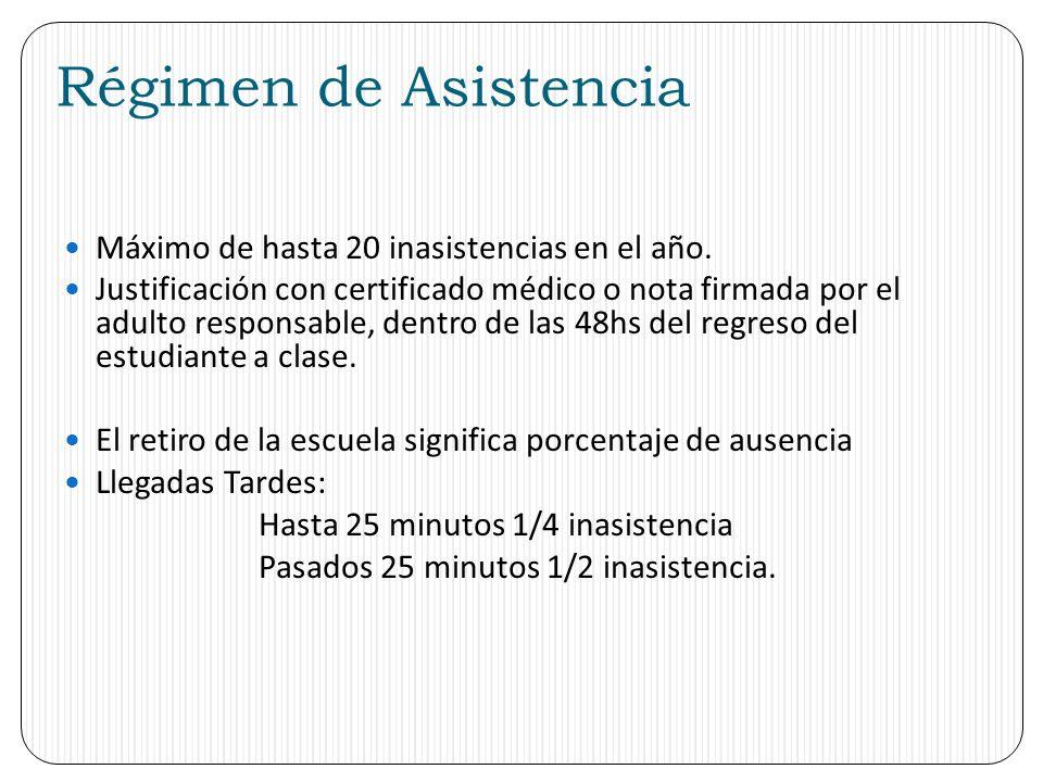 Régimen de Asistencia Máximo de hasta 20 inasistencias en el año. Justificación con certificado médico o nota firmada por el adulto responsable, dentr