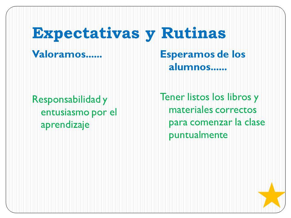 Expectativas y Rutinas Valoramos...... Responsabilidad y entusiasmo por el aprendizaje Esperamos de los alumnos...... Tener listos los libros y materi