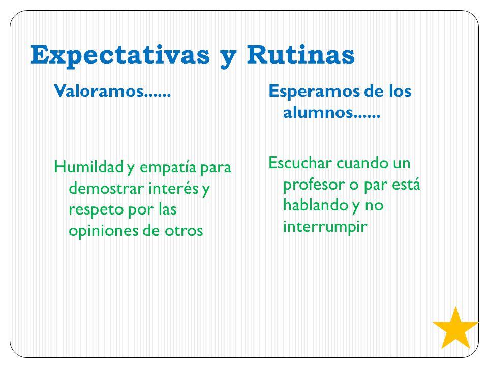 Expectativas y Rutinas Valoramos...... Humildad y empatía para demostrar interés y respeto por las opiniones de otros Esperamos de los alumnos...... E