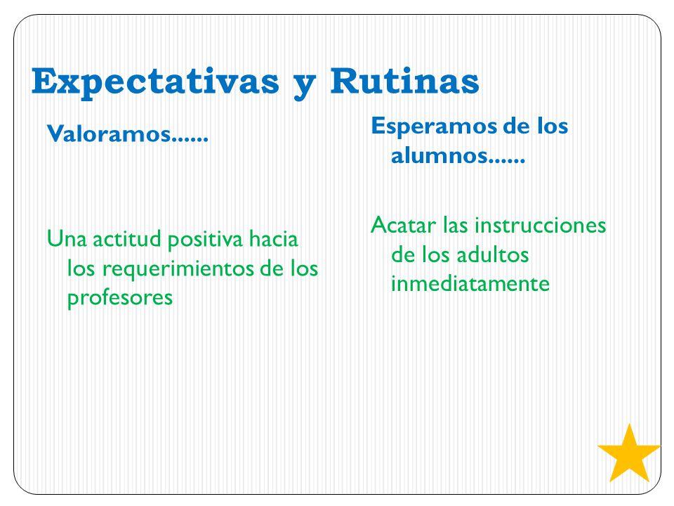 Expectativas y Rutinas Valoramos...... Una actitud positiva hacia los requerimientos de los profesores Esperamos de los alumnos...... Acatar las instr