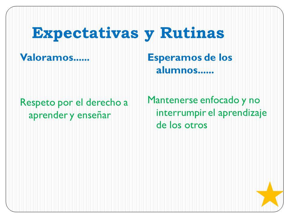 Expectativas y Rutinas Valoramos...... Respeto por el derecho a aprender y enseñar Esperamos de los alumnos...... Mantenerse enfocado y no interrumpir