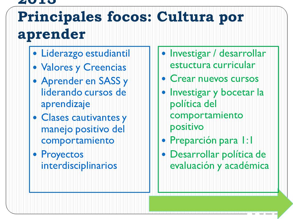 2013 Principales focos: Cultura por aprender Liderazgo estudiantil Valores y Creencias Aprender en SASS y liderando cursos de aprendizaje Clases cauti
