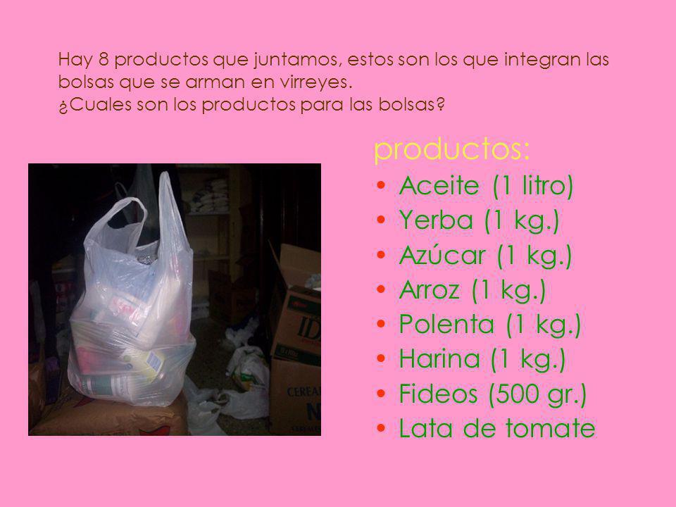 Hay 8 productos que juntamos, estos son los que integran las bolsas que se arman en virreyes.