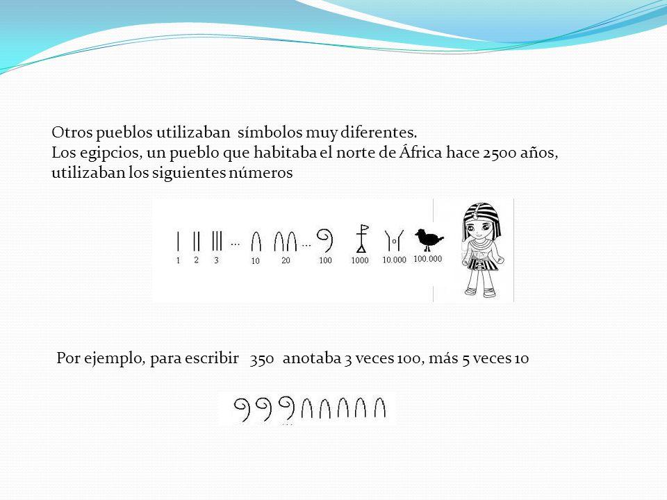 Otros pueblos utilizaban símbolos muy diferentes. Los egipcios, un pueblo que habitaba el norte de África hace 2500 años, utilizaban los siguientes nú