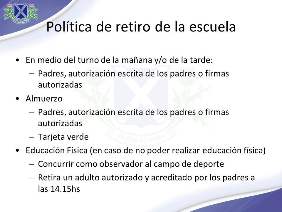 Política de retiro de la escuela En medio del turno de la mañana y/o de la tarde: –Padres, autorización escrita de los padres o firmas autorizadas Alm
