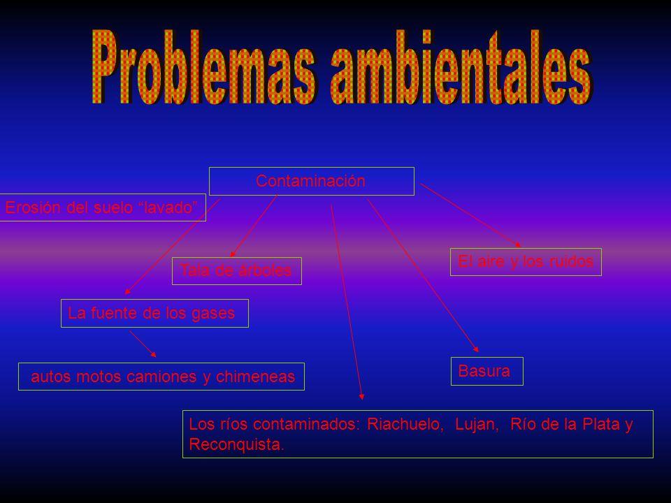 Contaminación La fuente de los gases autos motos camiones y chimeneas El aire y los ruidos Los ríos contaminados: Riachuelo, Lujan, Río de la Plata y Reconquista.