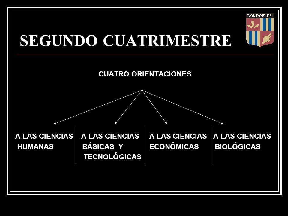 SEGUNDO CUATRIMESTRE CUATRO ORIENTACIONES A LAS CIENCIAS A LAS CIENCIAS HUMANAS BÁSICAS Y ECONÓMICAS BIOLÓGICAS TECNOLÓGICAS