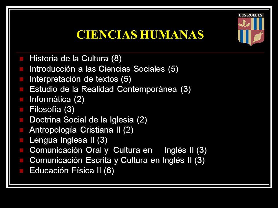 CIENCIAS HUMANAS Historia de la Cultura (8) Introducción a las Ciencias Sociales (5) Interpretación de textos (5) Estudio de la Realidad Contemporánea