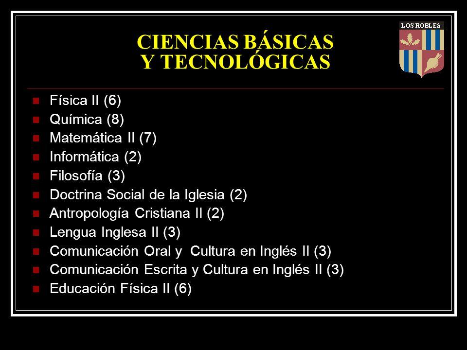 CIENCIAS BÁSICAS Y TECNOLÓGICAS Física II (6) Química (8) Matemática II (7) Informática (2) Filosofía (3) Doctrina Social de la Iglesia (2) Antropolog