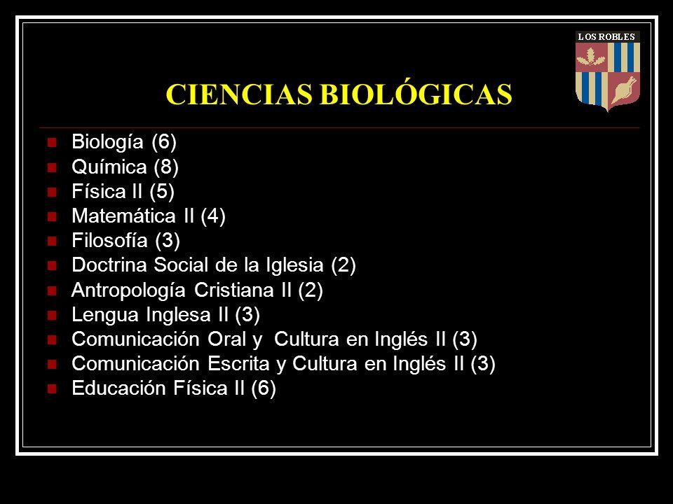 CIENCIAS BIOLÓGICAS Biología (6) Química (8) Física II (5) Matemática II (4) Filosofía (3) Doctrina Social de la Iglesia (2) Antropología Cristiana II