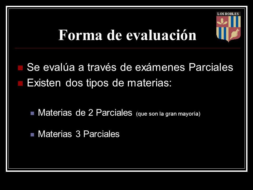 Forma de evaluación Se evalúa a través de exámenes Parciales Existen dos tipos de materias: Materias de 2 Parciales (que son la gran mayoría) Materias