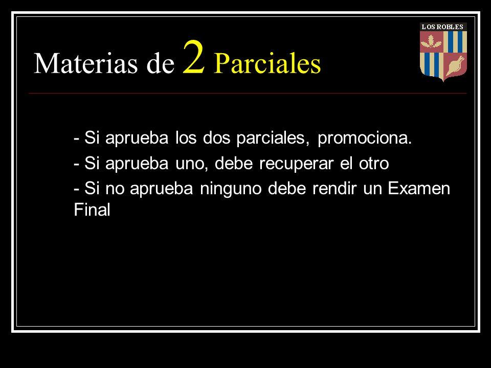Materias de 2 Parciales - Si aprueba los dos parciales, promociona. - Si aprueba uno, debe recuperar el otro - Si no aprueba ninguno debe rendir un Ex