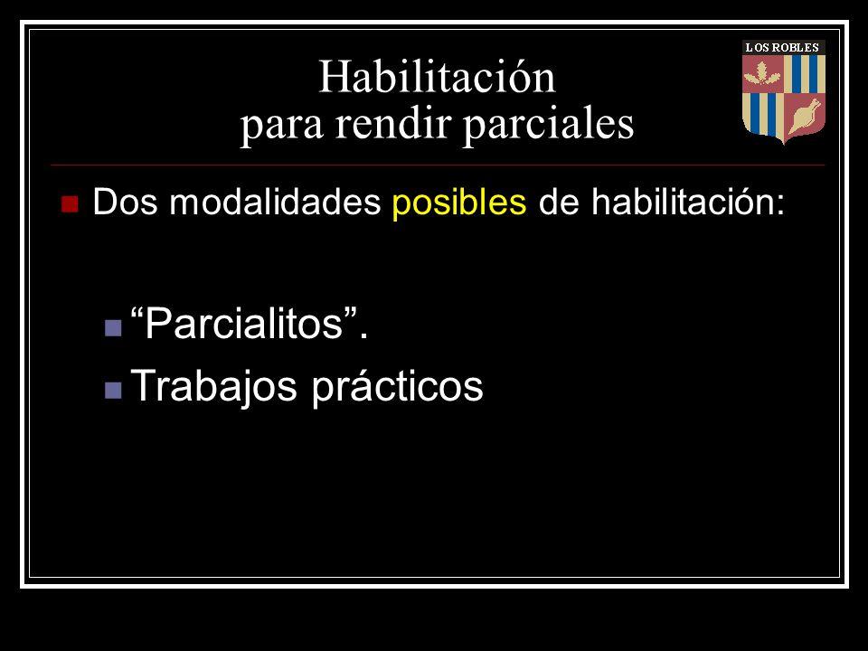 Habilitación para rendir parciales Dos modalidades posibles de habilitación: Parcialitos. Trabajos prácticos