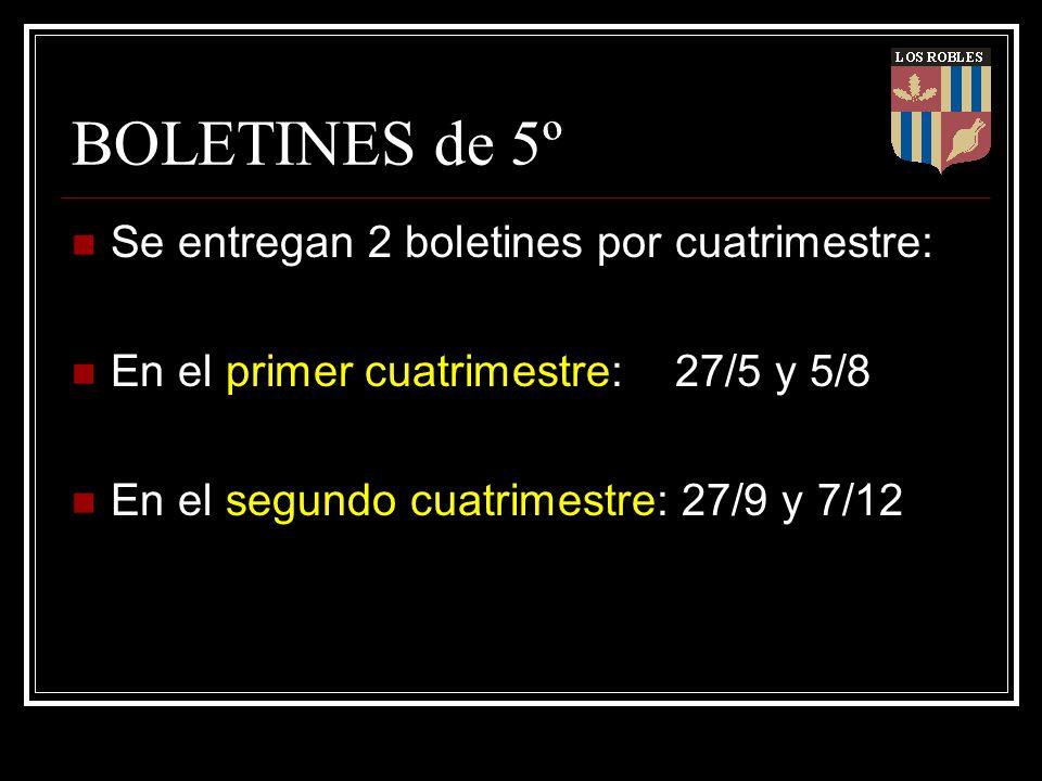 BOLETINES de 5º Se entregan 2 boletines por cuatrimestre: En el primer cuatrimestre: 27/5 y 5/8 En el segundo cuatrimestre: 27/9 y 7/12