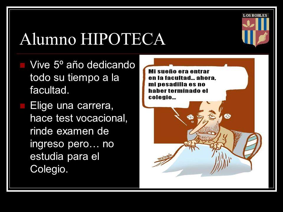 Alumno HIPOTECA Vive 5º año dedicando todo su tiempo a la facultad. Elige una carrera, hace test vocacional, rinde examen de ingreso pero… no estudia