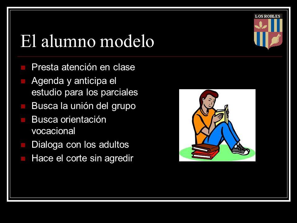 El alumno modelo Presta atención en clase Agenda y anticipa el estudio para los parciales Busca la unión del grupo Busca orientación vocacional Dialog