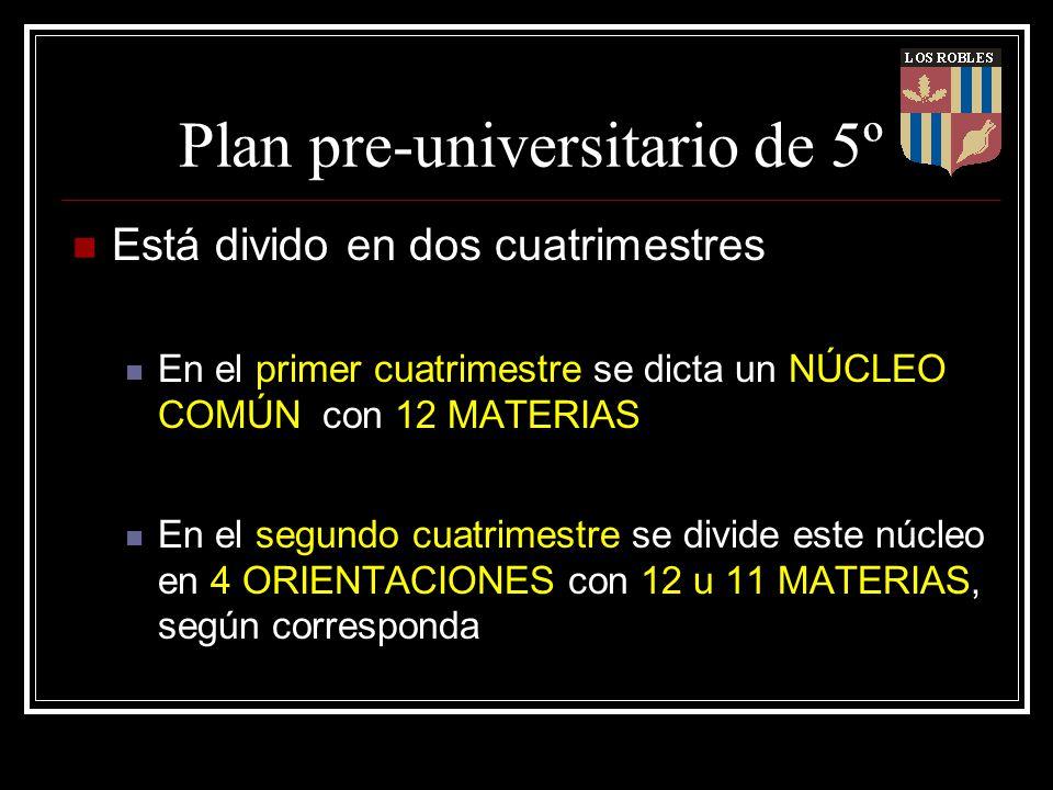 Plan pre-universitario de 5º Está divido en dos cuatrimestres En el primer cuatrimestre se dicta un NÚCLEO COMÚN con 12 MATERIAS En el segundo cuatrim