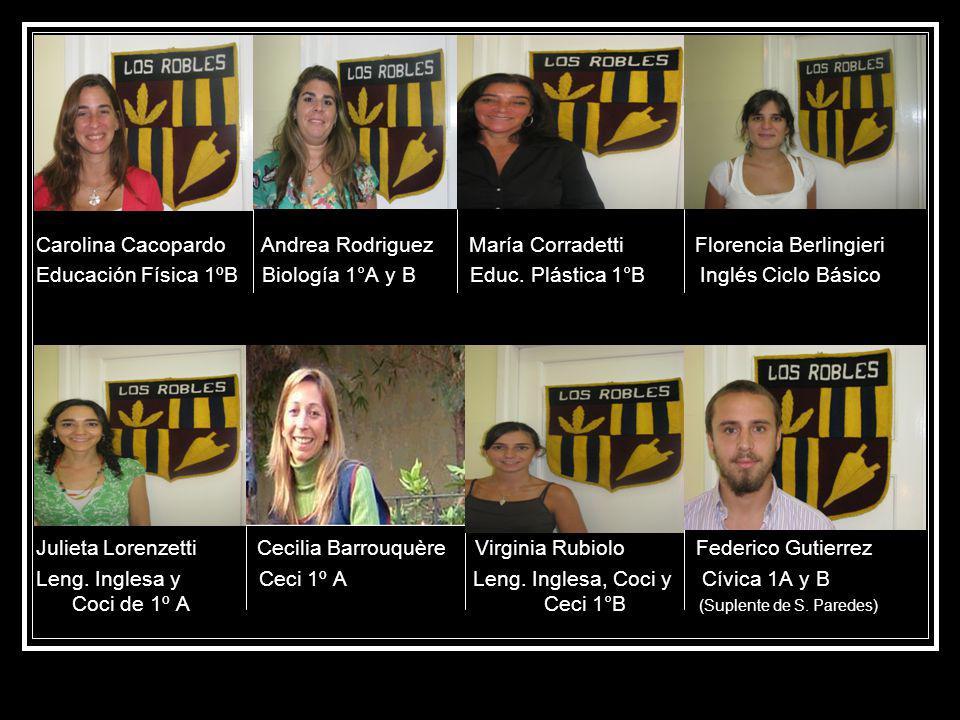 Carolina Cacopardo Andrea Rodriguez María Corradetti Florencia Berlingieri Educación Física 1ºB Biología 1°A y B Educ.