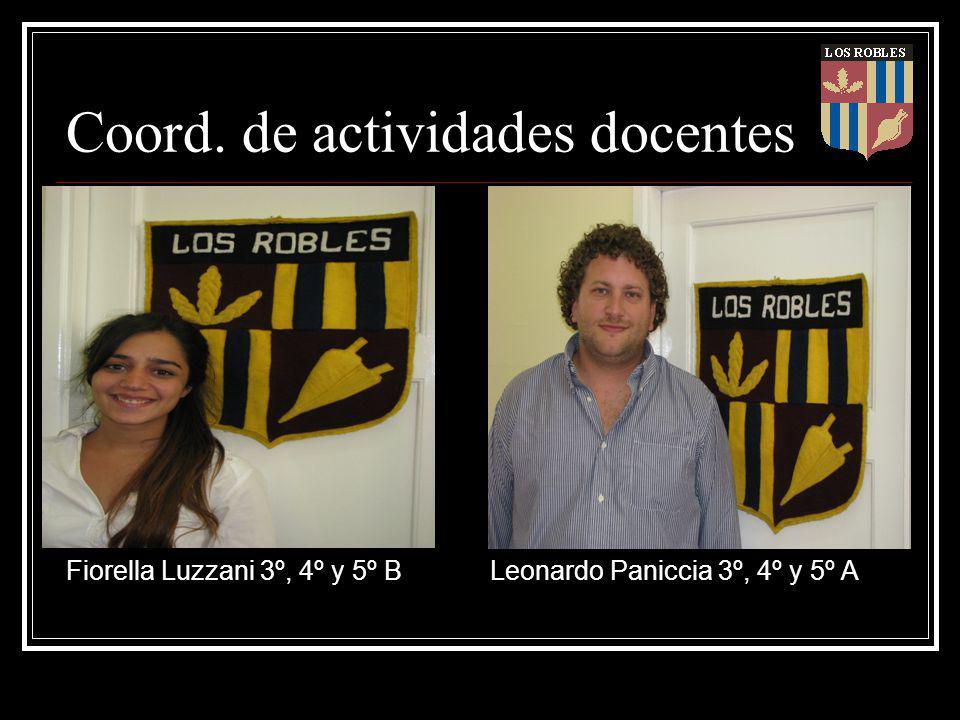 Coord. de actividades docentes Fiorella Luzzani 3º, 4º y 5º B Leonardo Paniccia 3º, 4º y 5º A
