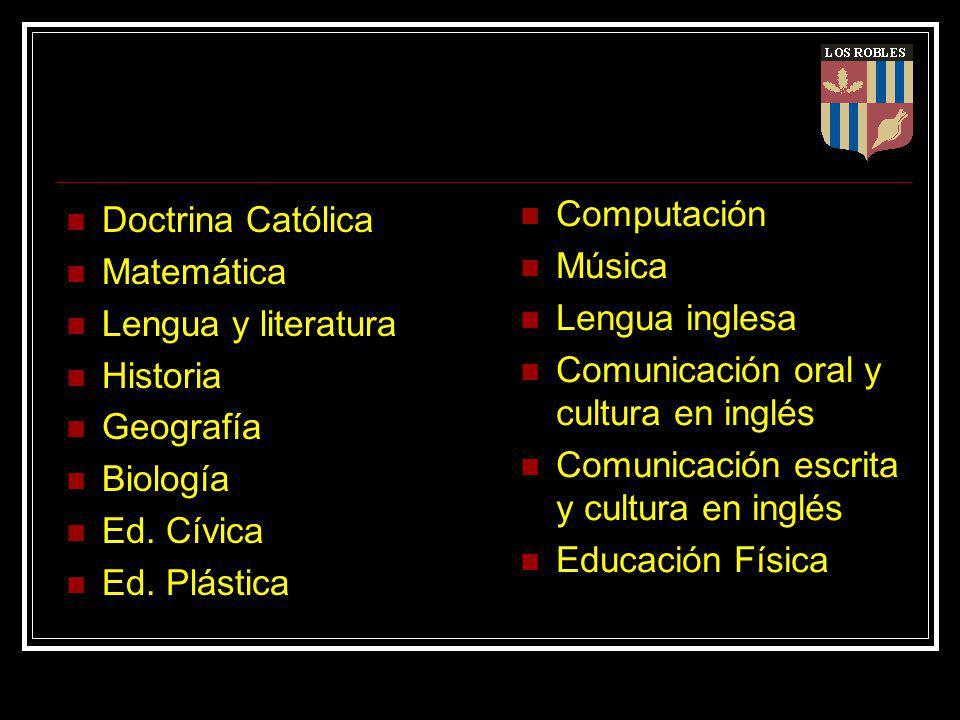 Doctrina Católica Matemática Lengua y literatura Historia Geografía Biología Ed.