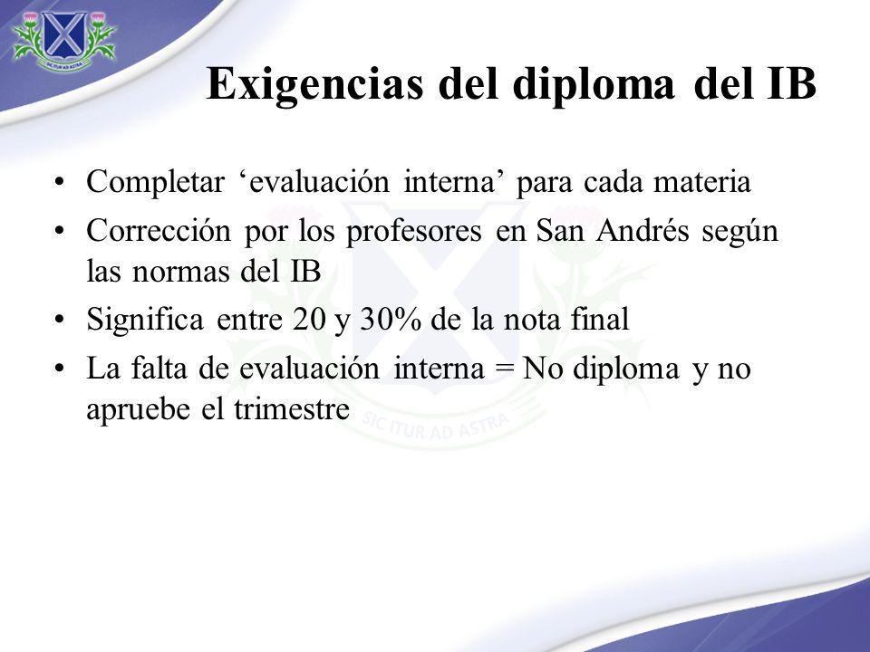 Exigencias del diploma del IB Completar evaluación interna para cada materia Corrección por los profesores en San Andrés según las normas del IB Significa entre 20 y 30% de la nota final La falta de evaluación interna = No diploma y no apruebe el trimestre