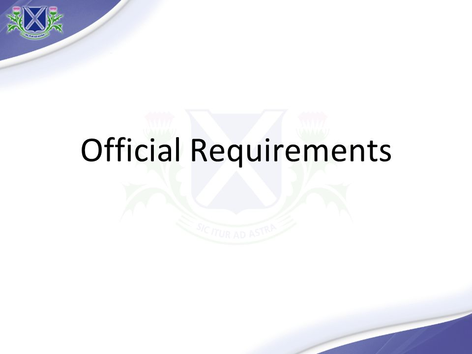 Official Requirements