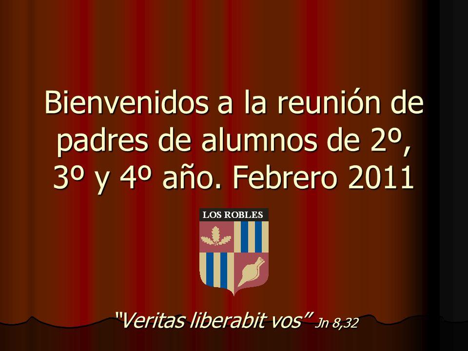 Bienvenidos a la reunión de padres de alumnos de 2º, 3º y 4º año. Febrero 2011 Veritas liberabit vos Jn 8,32