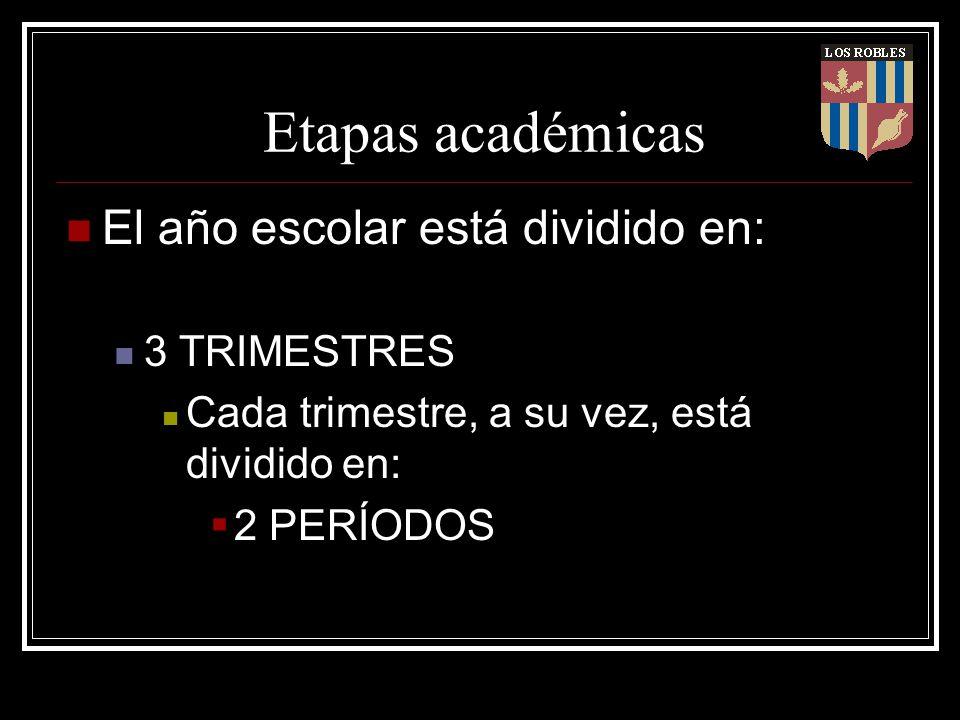 Etapas académicas El año escolar está dividido en: 3 TRIMESTRES Cada trimestre, a su vez, está dividido en: 2 PERÍODOS