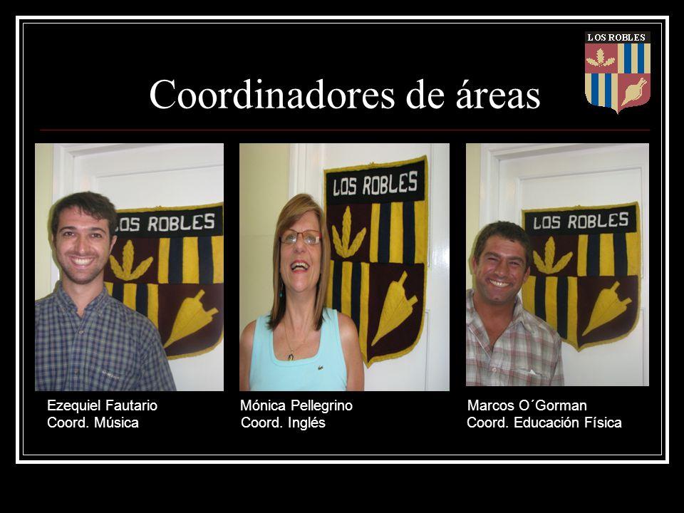 Coordinadores de áreas Ezequiel Fautario Mónica Pellegrino Marcos O´Gorman Coord. Música Coord. Inglés Coord. Educación Física