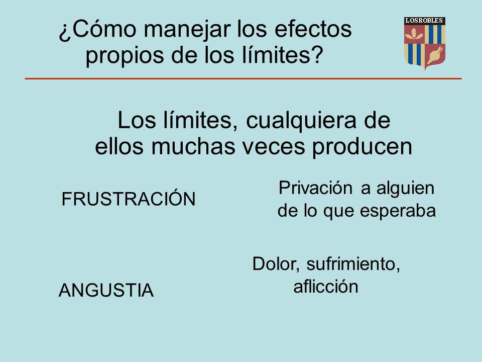 Los límites, cualquiera de ellos muchas veces producen FRUSTRACIÓN ANGUSTIA ¿Cómo manejar los efectos propios de los límites.
