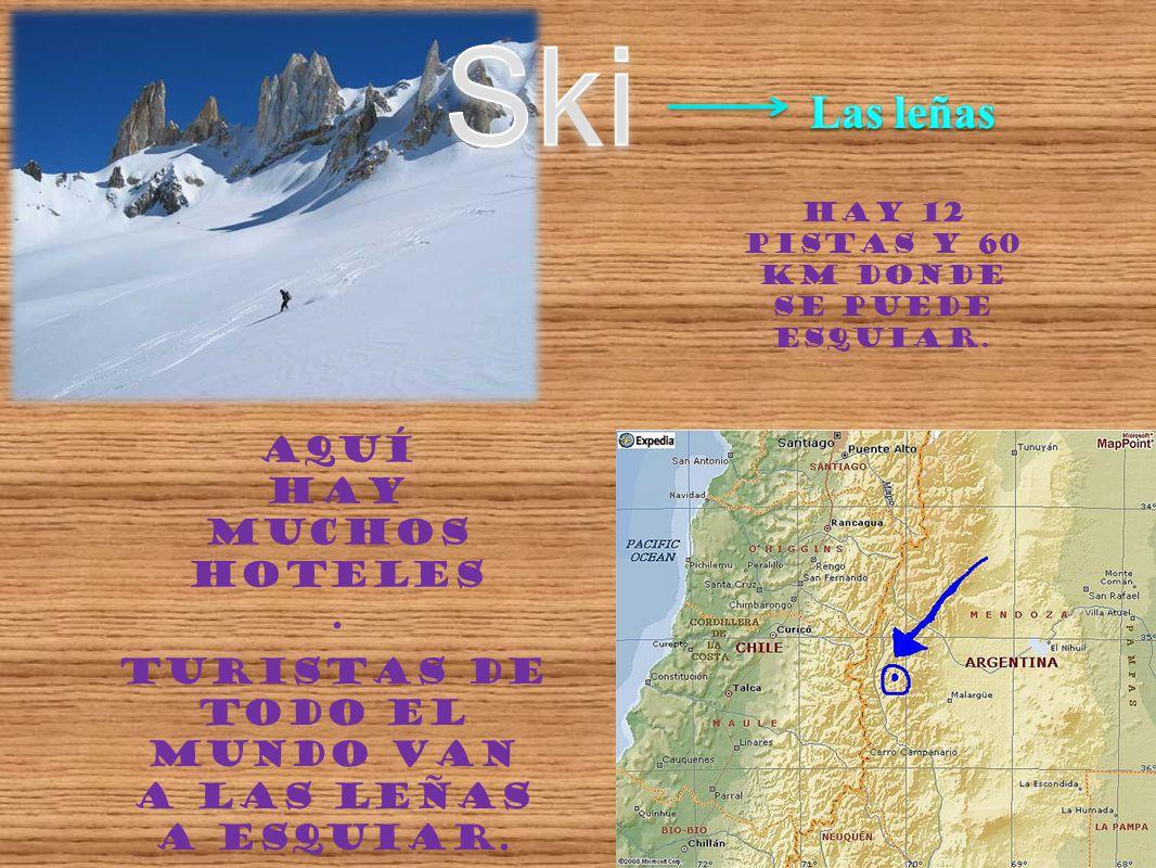 Hay 12 pistas y 60 km donde se puede esquiar. Aquí hay muchos hoteles. Turistas de todo el mundo van a Las Leñas a esquiar.