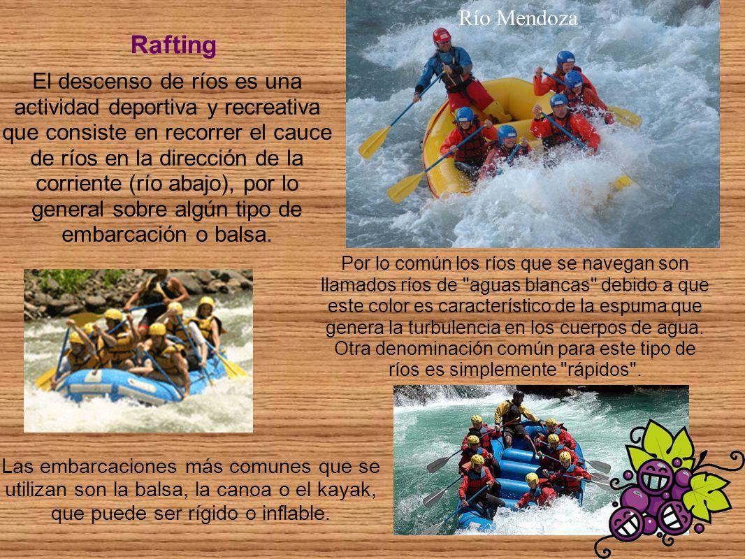 El descenso de ríos es una actividad deportiva y recreativa que consiste en recorrer el cauce de ríos en la dirección de la corriente (río abajo), por