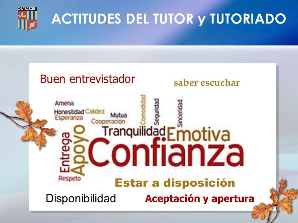 ACTITUDES DEL TUTOR y TUTORIADO Buen entrevistador saber escuchar Estar a disposición Aceptación y apertura Disponibilidad