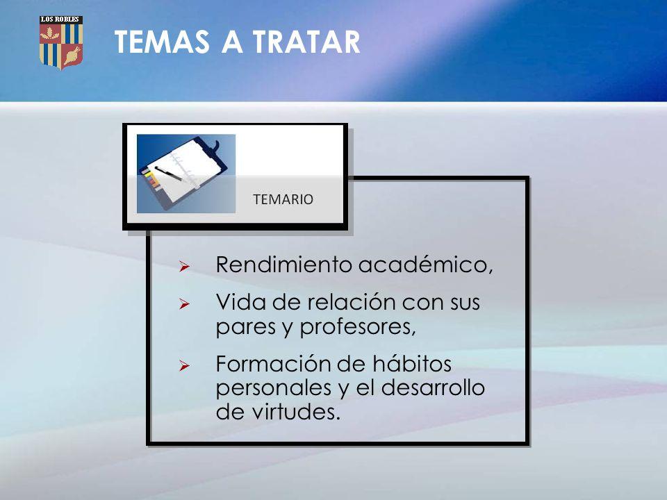 TEMAS A TRATAR Rendimiento académico, Vida de relación con sus pares y profesores, Formación de hábitos personales y el desarrollo de virtudes.