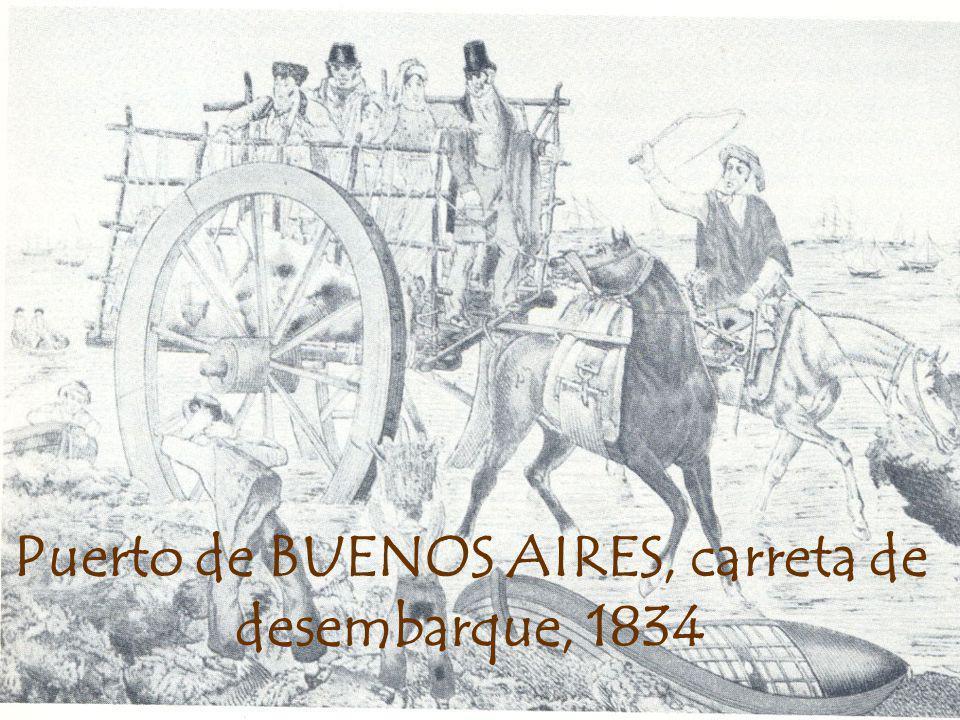Puerto de BUENOS AIRES, carreta de desembarque, 1834