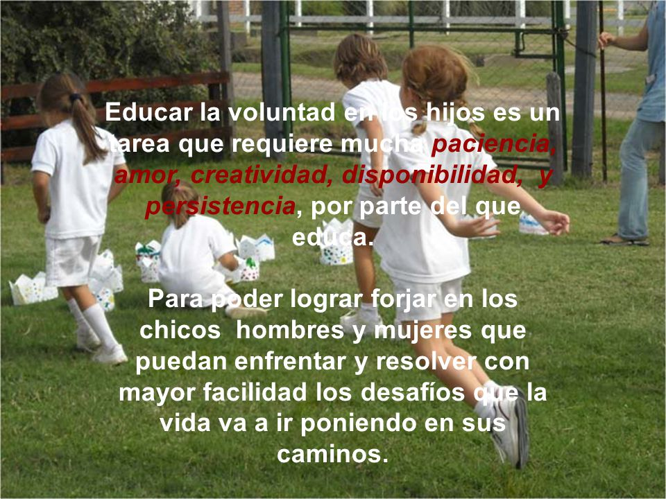 Educar la voluntad en los hijos es un tarea que requiere mucha paciencia, amor, creatividad, disponibilidad, y persistencia, por parte del que educa.