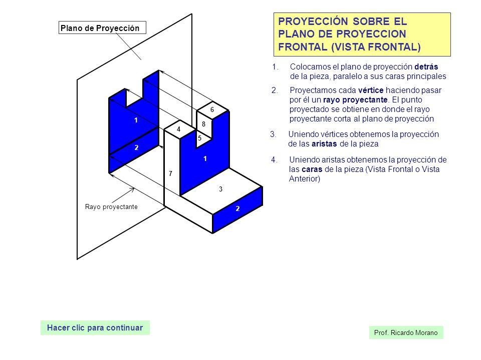 1 2 3 4 5 6 7 8 Plano de Proyección 1 2 Rayo proyectante PROYECCIÓN SOBRE EL PLANO DE PROYECCION FRONTAL (VISTA FRONTAL) 1.Colocamos el plano de proye