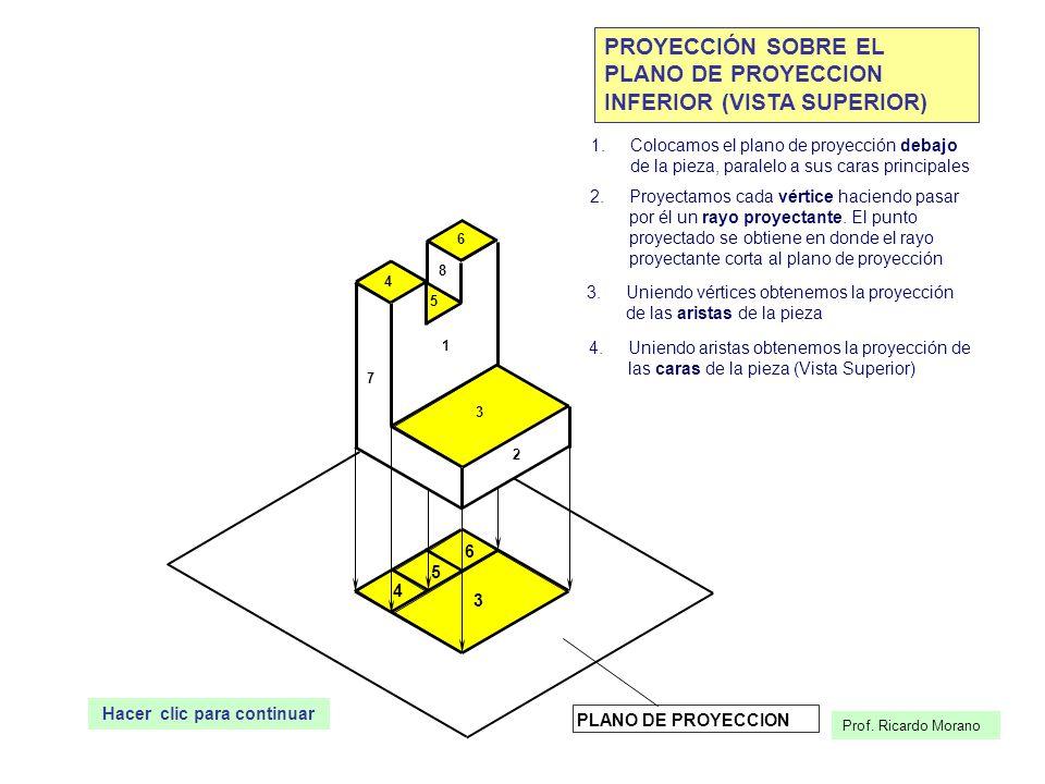 Prof. Ricardo Morano 1 2 3 4 5 6 7 8 PLANO DE PROYECCION PROYECCIÓN SOBRE EL PLANO DE PROYECCION INFERIOR (VISTA SUPERIOR) 1.Colocamos el plano de pro