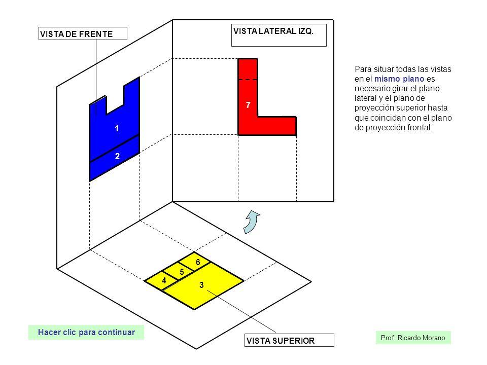 4 5 6 3 1 2 VISTA SUPERIOR 7 VISTA DE FRENTE Para situar todas las vistas en el mismo plano es necesario girar el plano lateral y el plano de proyecci