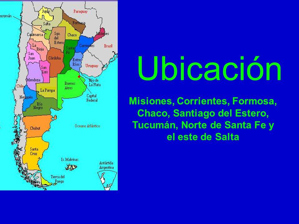 Ubicación Misiones, Corrientes, Formosa, Chaco, Santiago del Estero, Tucumán, Norte de Santa Fe y el este de Salta
