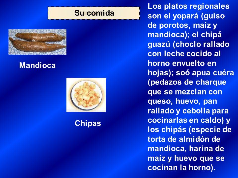Su comida Mandioca Chipas Los platos regionales son el yopará (guiso de porotos, maíz y mandioca); el chipá guazú (choclo rallado con leche cocido al horno envuelto en hojas); soó apua cuéra (pedazos de charque que se mezclan con queso, huevo, pan rallado y cebolla para cocinarlas en caldo) y los chipás (especie de torta de almidón de mandioca, harina de maíz y huevo que se cocinan la horno).
